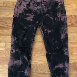 Blackheart red and black tie dye jeans